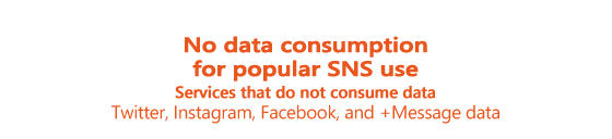 No data consumption for popular SNS use(*1). Services that do not consume data [Twitter, Instagram, Facebook, and +Message data]