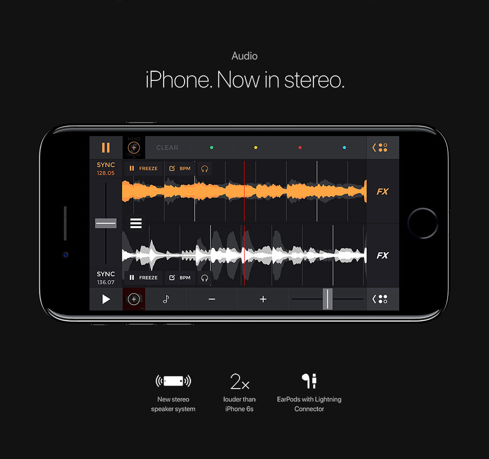 Audio iPhone. Now in stereo. New stereo speaker system/2x louder than iPhone 6s/EarPods with Lightning Connector