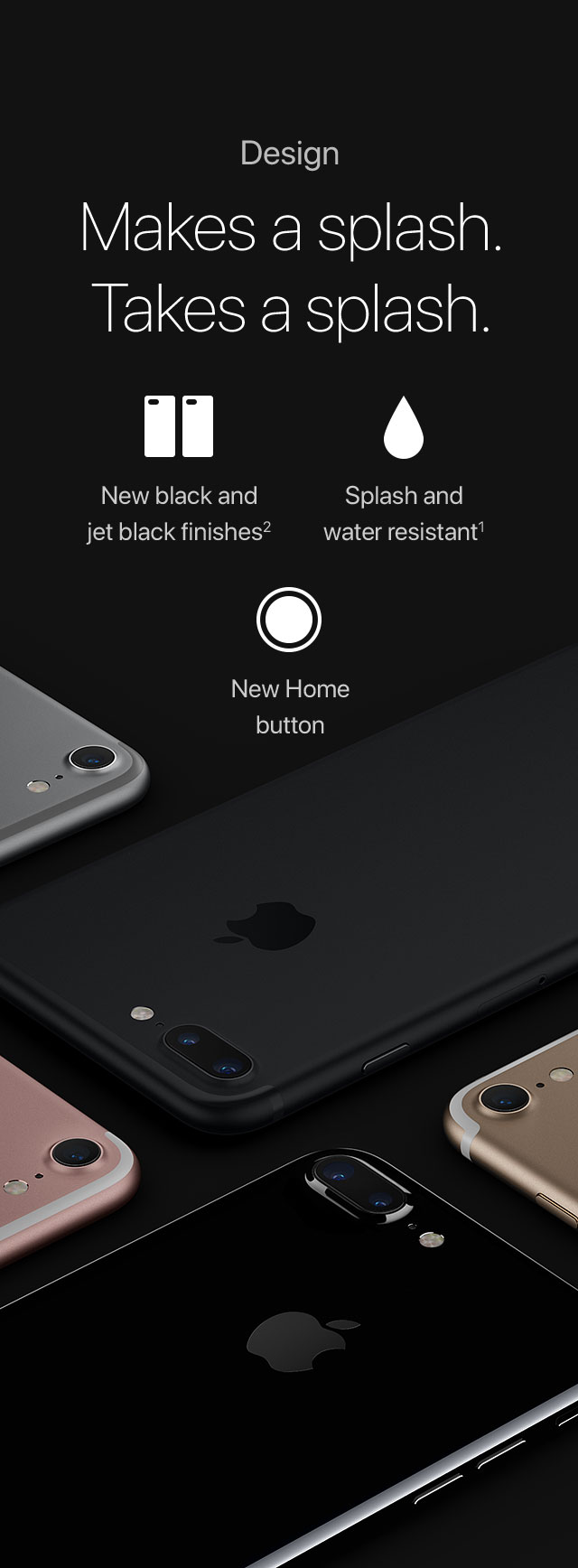 Design Makes a splash. Takes a splash. New black and jet black finishes2/Splash and water resistant1/New Home button