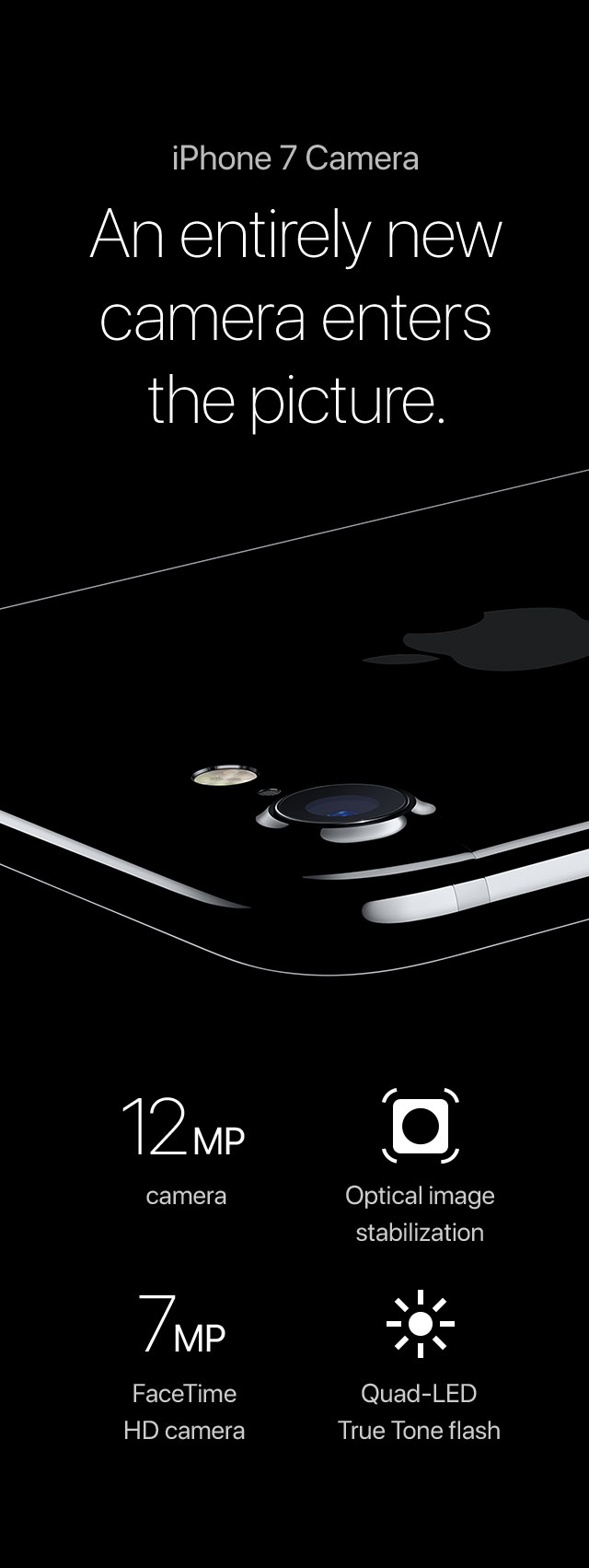 iPhone 7 Camera An entirely new camera enters the picture. 12MP camera/Optical image stabilization/7MP FaceTime HD camera/Quad-LED True Tone flash