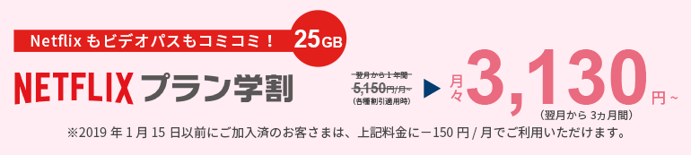 動画を楽しむなら!25GB Netflixプラン学割 月々2,980円~