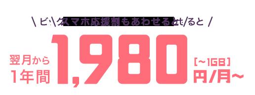 通話+データ=今ならビッグニュースキャンペーンで翌月から1年間1,980円/月(各種割引適用時)