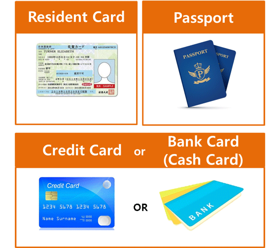 Resident Card Passport Credit Card or Bank Card(Cash Card)