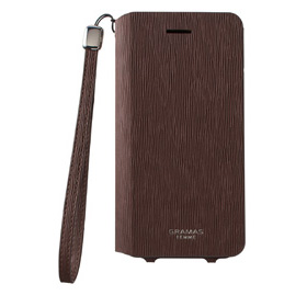 iPhone 7用 GRAMAS Colo Flap Leather Case/ブラウン画像
